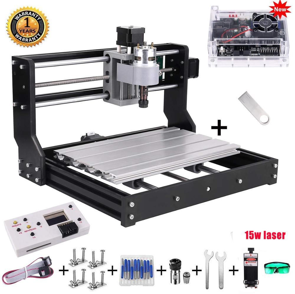CNC 3018 Pro 10w/15w Laser DIY Mini CNC Machine With Offline Controller 3 Axis Milling Machine GRBL Control ER11 Laser Engraver