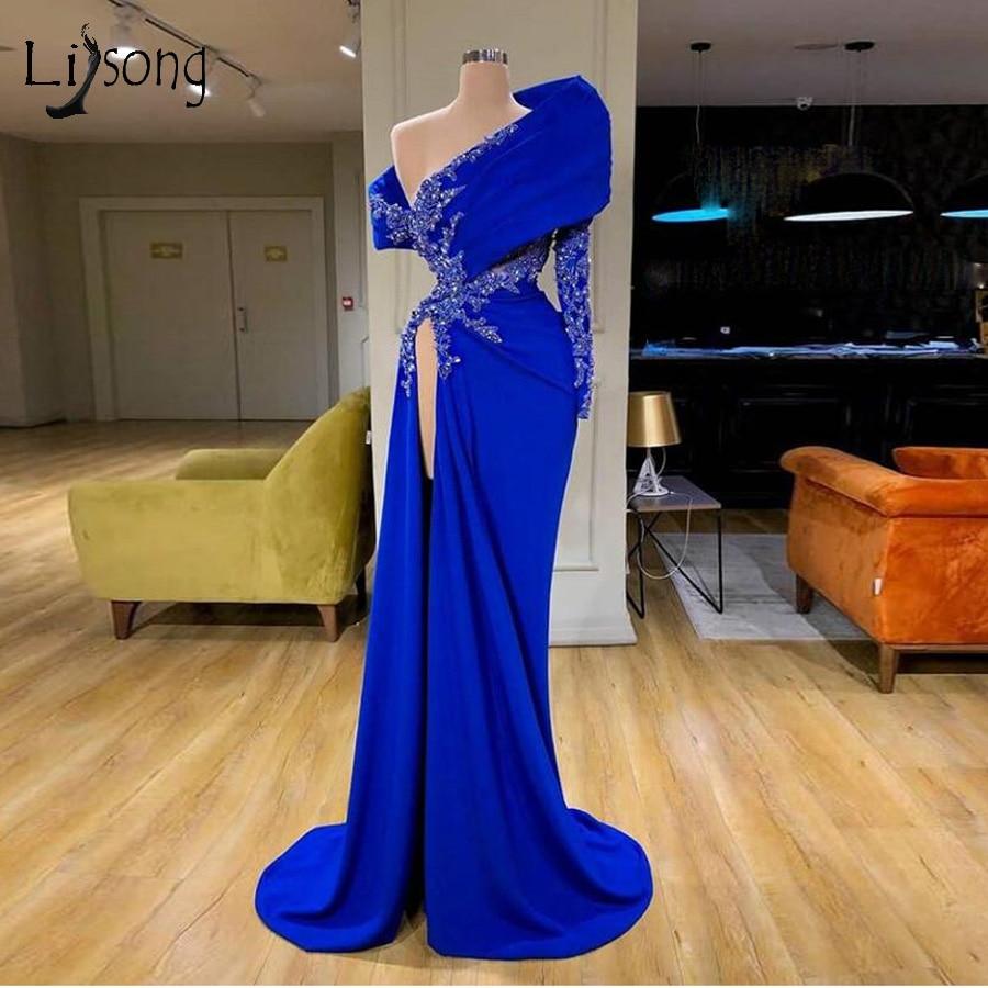 Imagen Real azul Real sirena vestidos de noche un hombro de encaje con cuentas alto lado partido vestidos para graduación sexy apliques vestido de fiesta
