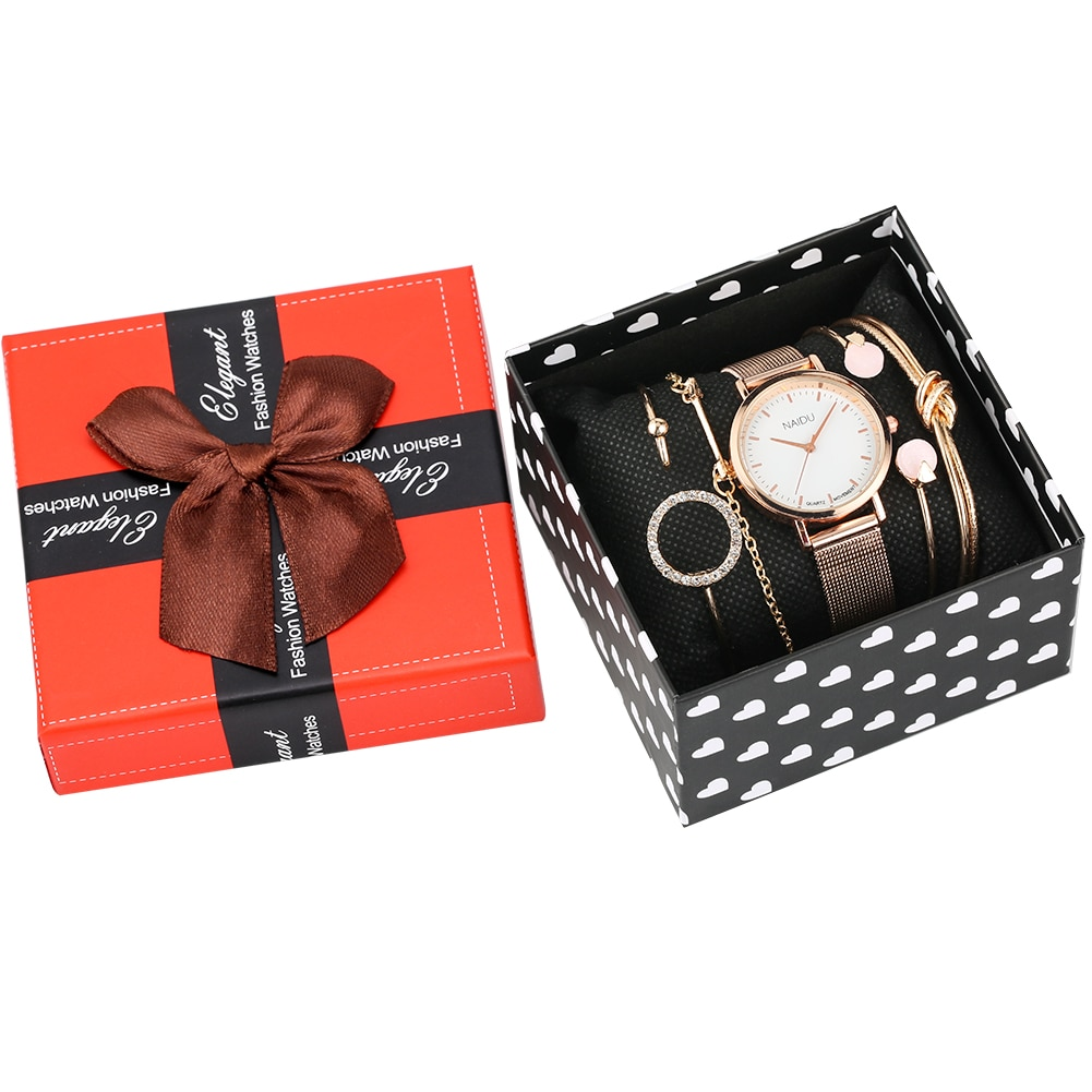 Relógios para Senhoras Pulseira de Aço Relógio de Pulso para Feminino Pulseira Feminina Relógios Definir Ouro Rosa Quartzo Analógico Inoxidável
