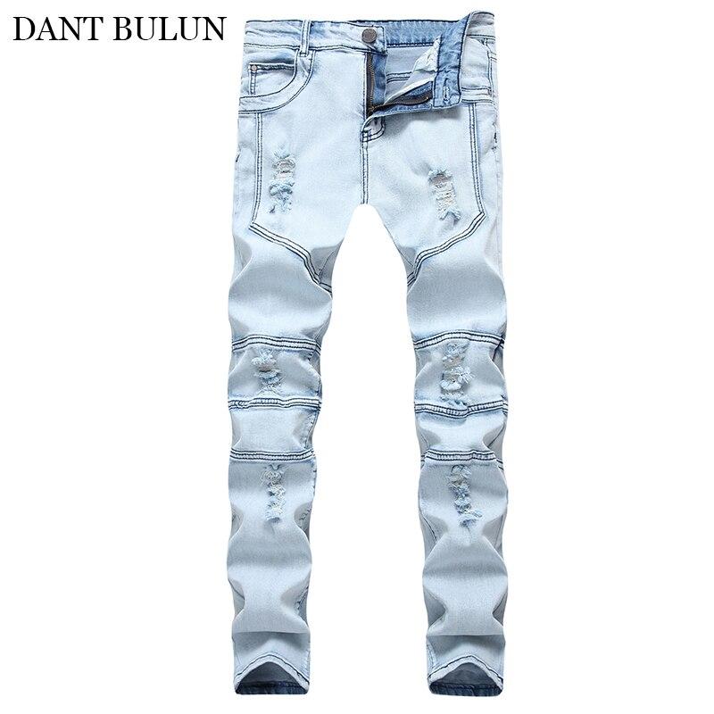 Мужские брендовые джинсы, модные повседневные джинсы с соединением, облегающие прямые обтягивающие джинсы, Мужские Синие рваные Брюки Homme