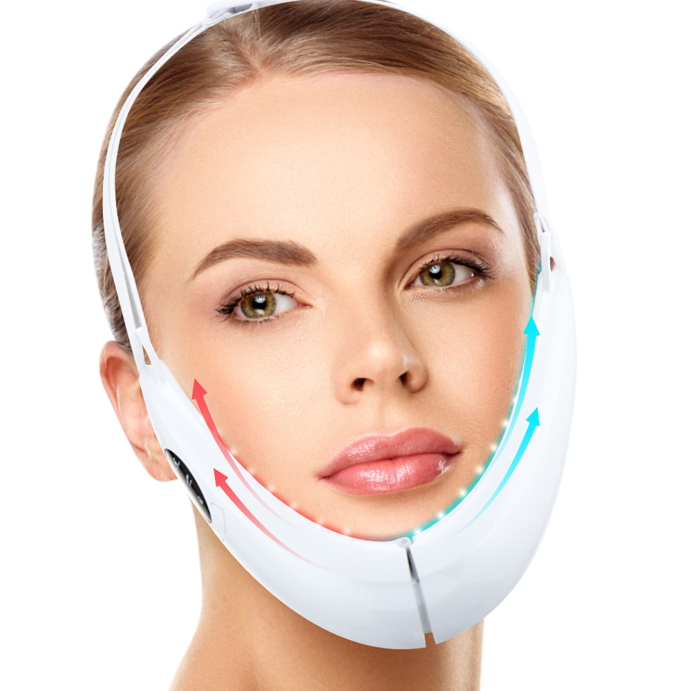 EMS Facial Lifting Device LED Photon Therapy Face Slimming Vibration Massager Double Chin V Line Lift Belt Cellulite Jaw Device