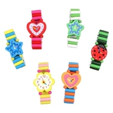 10Pack Realistic Wooden Watch Toys Game for Birthday Gift Model Stretchy Band Watch Travel Toy Fine