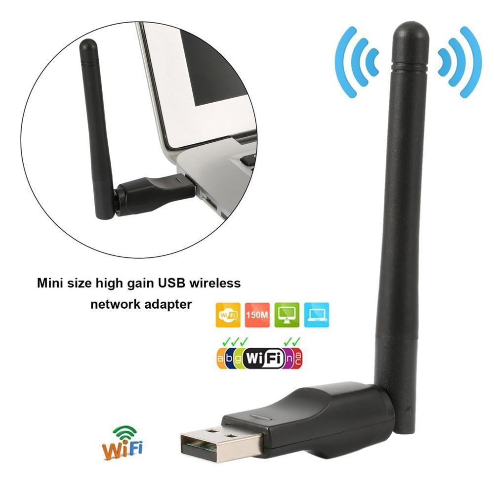 Mini adaptador sem fio wifi 150 mbps 20dbm antena usb wi-fi receptor placa de rede 802.11b/n/g wifi adaptador mini wifi dongle