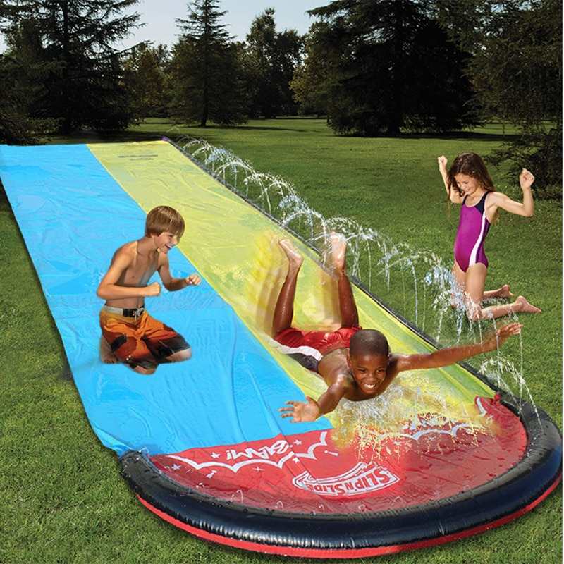 2021 New Inflatable Water Slide 16ft Double Racer Pool Kids Summer Park Backyard Play Fun Outdoor Splash Slip N Slide Wave Rider недорого