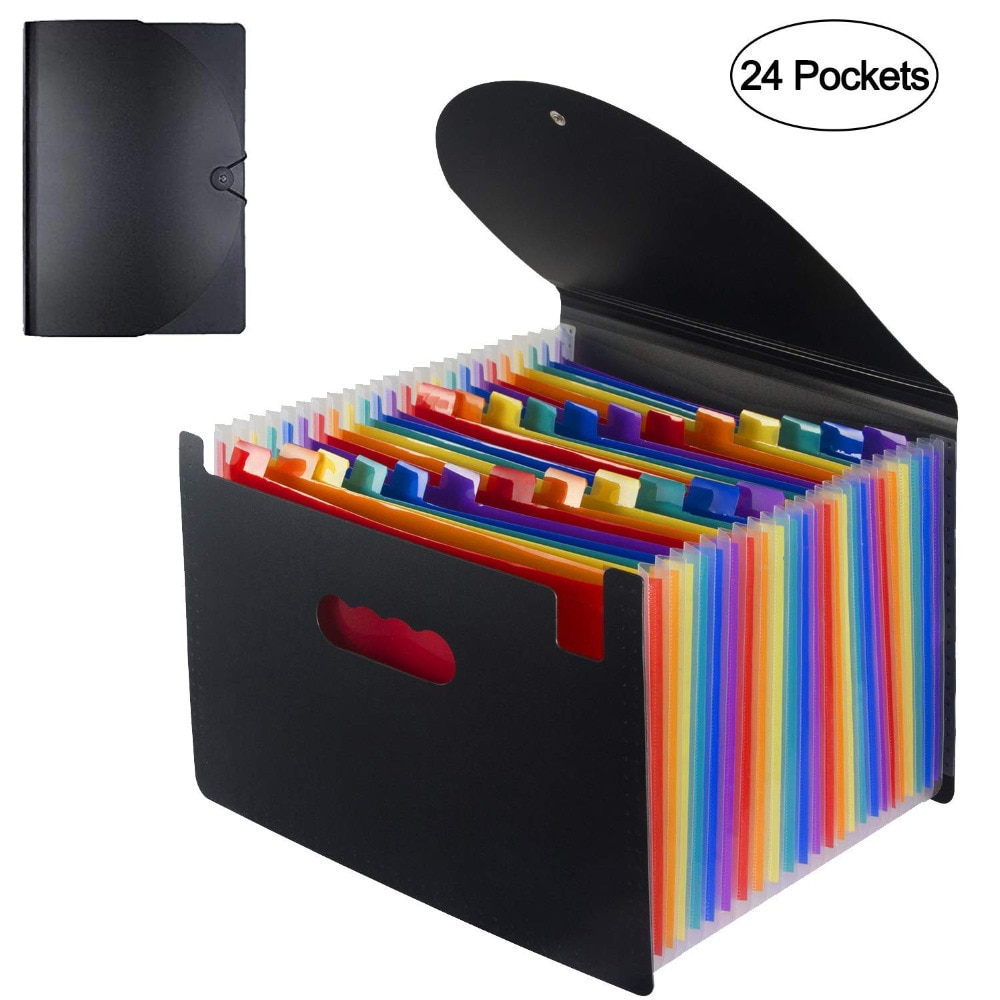 Expanding A4 for File Holder  Office Supplies Plastic Rainbows Organizer A4 Letter Size Portable Documents Holder Desk Storage