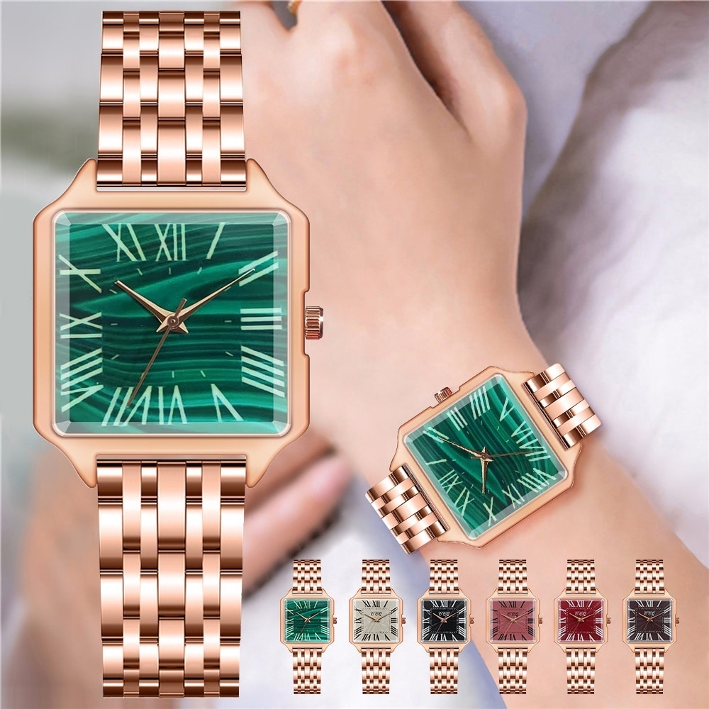 CCQ Brand Watches Women Luxury Rose Gold Square Roma Green Watches Ladies Alloy Simple Casual Quartz