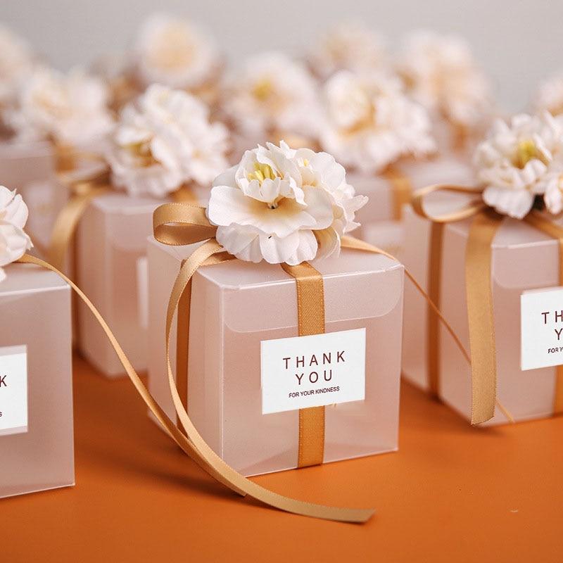 Прозрачные подарочные пакеты с надписью Thank You, 10/20/50 шт., лента с искусственными цветами, свадебные сувениры для гостей, Матовая коробка с дра...