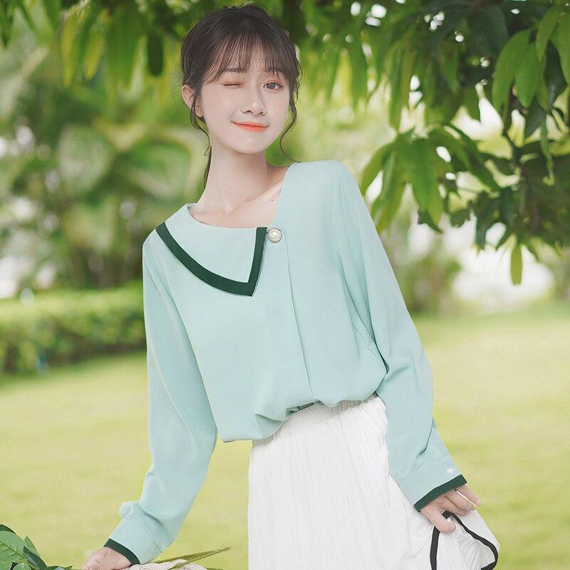 Chic Khaki 2020 New Spring and Autumn Artistic Girl Diagonal Collar Chiffon Shirt Long Sleeve Underw