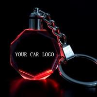 Цвета светодиодный K9 с украшением в виде кристаллов брелок автомобильные брелки с логотипом в виде многоугольника, Прозрачный светящийся п...