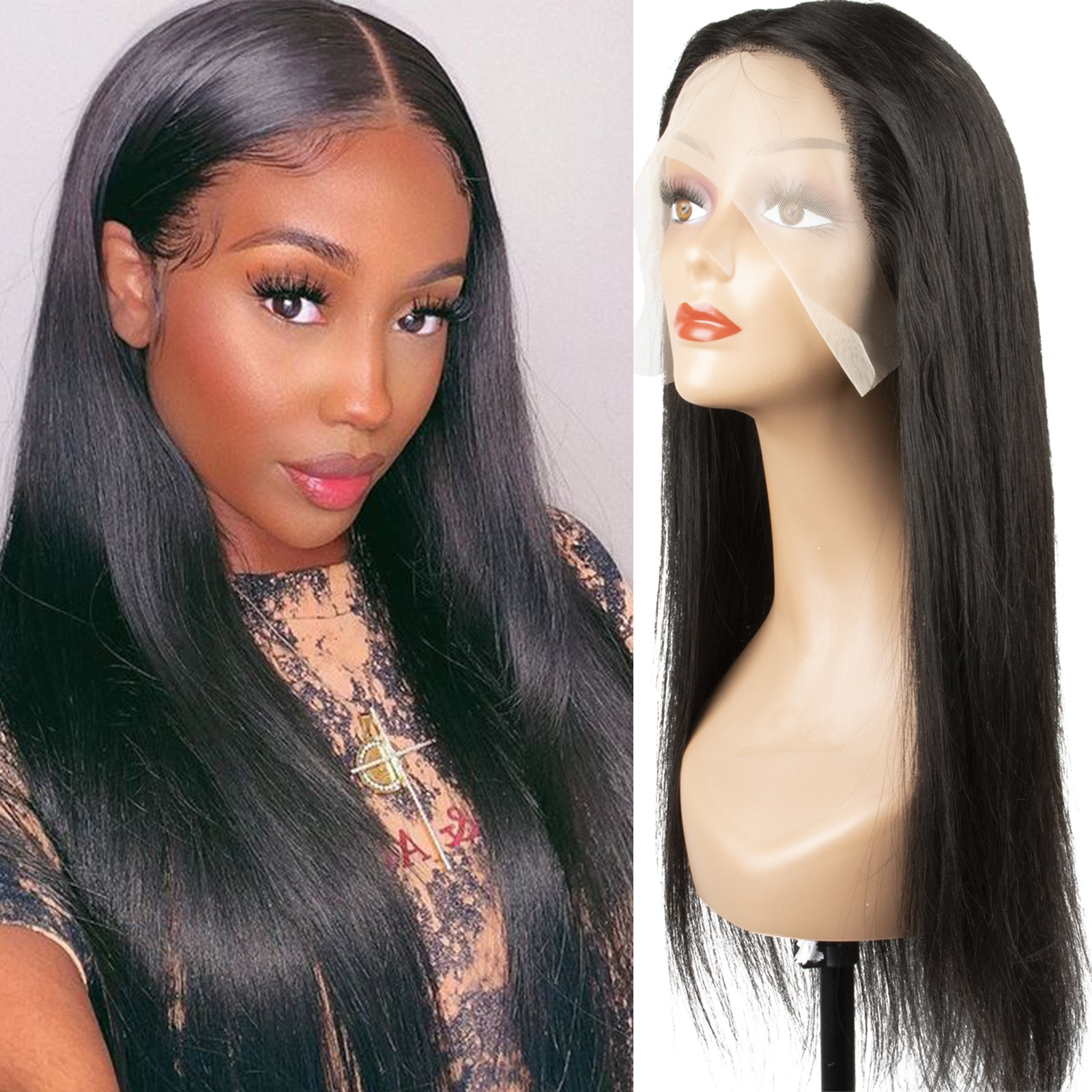 30 Inch Long Straight Lace Front Wig T Part Lace Wig Human Hair 180 Density Lace Front Human Hair Wigs for Black Women