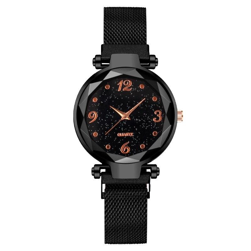 Fashion Female Wrist Watch Magnet Luxury Black Stainless Steel Galaxy Starry Sky Digital Ladies Quar