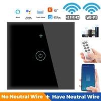 Interrupteur intelligent pour maison connectee  4 3 2 1 gangs  wi-fi  433MHZ  110-250 V AC  fonctionne avec Alexa et Google Home