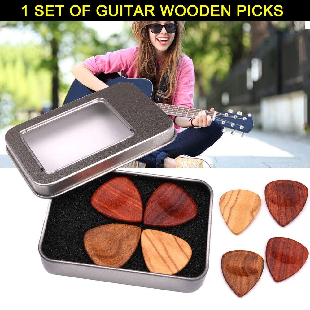 1 conjunto de madeira plectrums picaretas com caso armazenamento acessórios para guitarra baixo banjo b2cshop