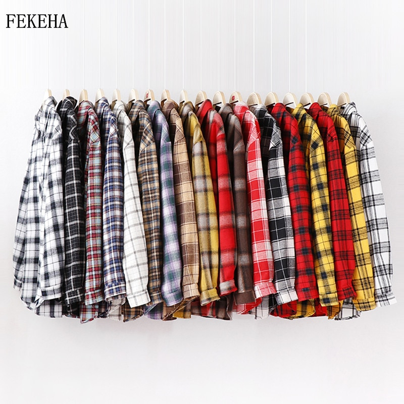 2021 Fashion Women Plaid Shirt Chic Checked Blouse Long Sleeve Female Casual Print Shirts Loose Cott