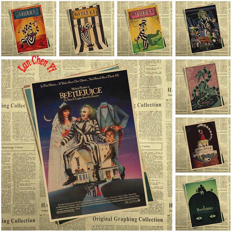 Cartel de papel Kraft de película de terror clásico, Adhesivo de pared, carteles de decoración artísticos para bares y hogares