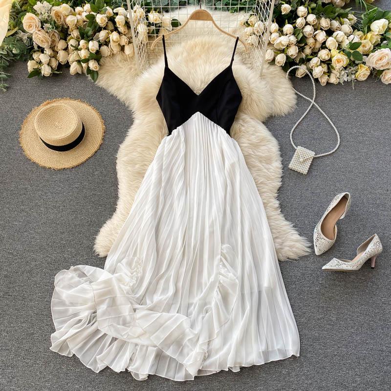 2021 New Summer Patchwork Fungus V-Neck Elegant Pleated Sleeveless Strap Dress Beach Party Women Sexy Vestidos