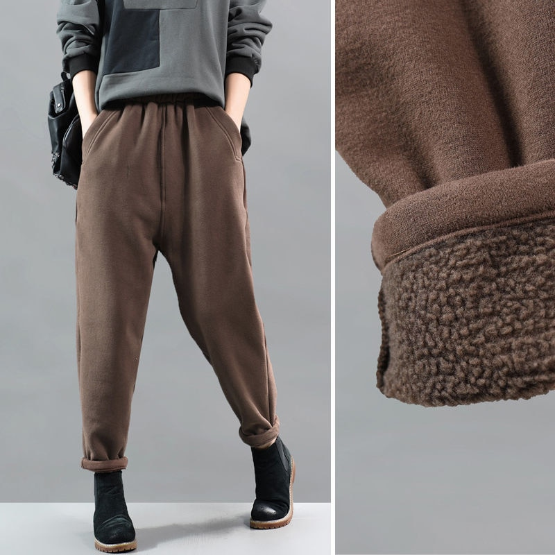 Женские зимние плотные бархатные брюки, теплые женские повседневные брюки с высокой талией, свободные шаровары, длинные брюки для женщин