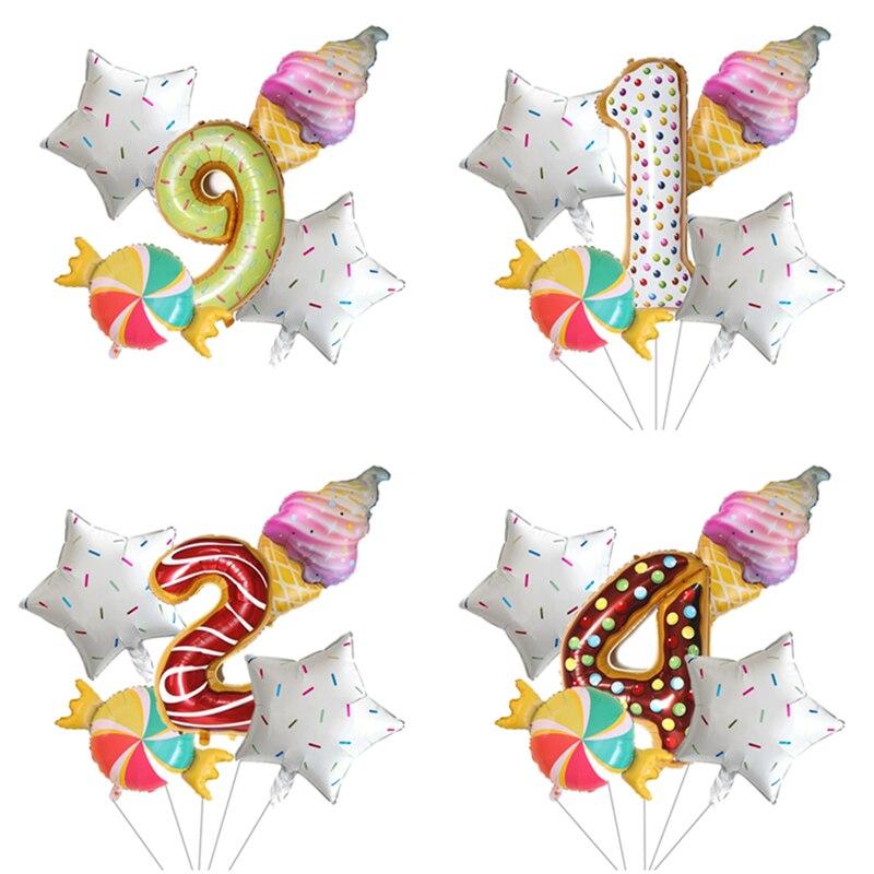 5 uds. Conjunto de 40 pulgadas de globos de aluminio con número de donut y papel de aluminio, helado de arcoíris, decoración para fiesta de feliz cumpleaños hawaiana