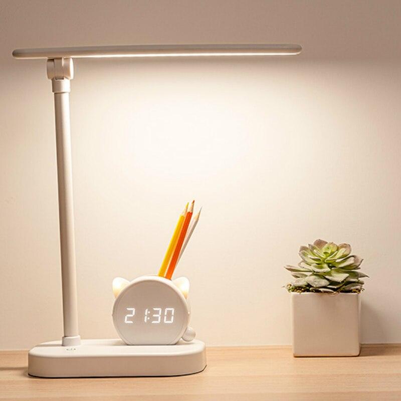 Творческий настольные лампы в современном стиле для чтения светодиодный индикатор зарядки защита глаз Детские изучьте стол лампы длинные ...