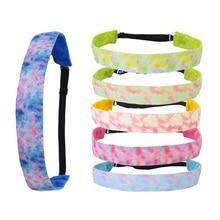 Antideslizante diadema corbata colorida-tinte elástico diademas de tela de terciopelo tamaño ajustable diadema para jóvenes de deporte de niñas diademas