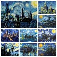 Van Gogh     peinture diamant nuit etoilee  Kit de broderie a lhuile abstraite de chateau  point de croix  mosaique 5D  bricolage  decor de maison