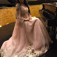 evening dresses a line long sleeve formal party prom gowns 2020 for women pink appliqued plus size