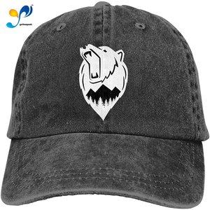 Born To Be Wild Bear Baseball Cap, Vintage Adjustable Washed Hat For Men Women