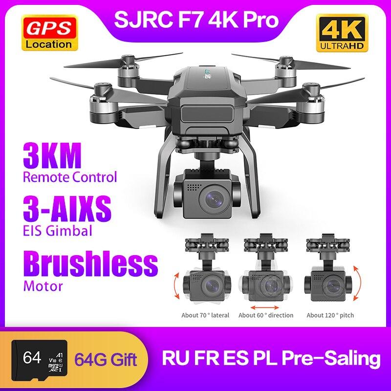 SJRC F7 برو 4K 3-محور EIS المضادة للاهتزاز كاميرا ذات محورين الطائرة بدون طيار 5G واي فاي لتحديد المواقع فرش السيارات 3 كجم التحكم عن بعد أجهزة الاستق...