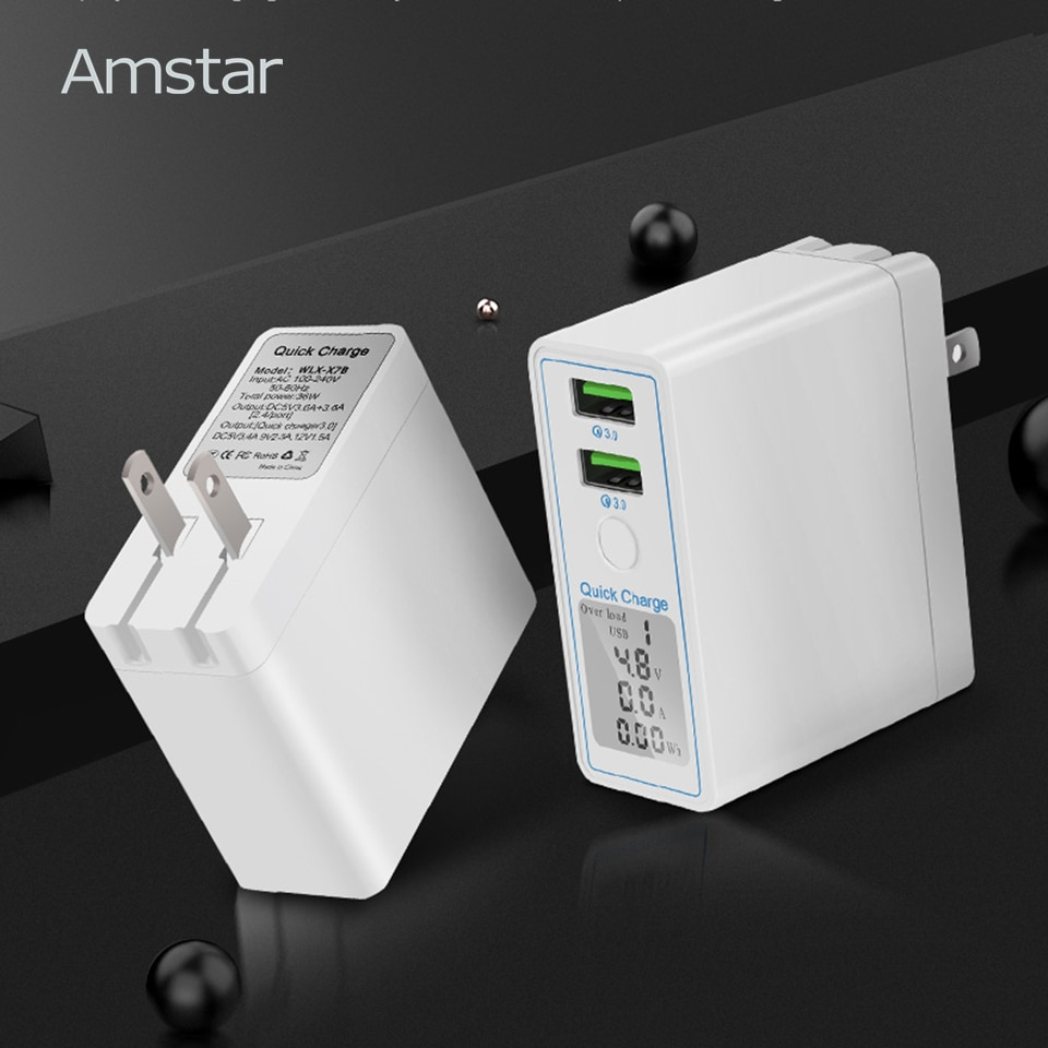 Amstar carga rápida 3,0 cargador Dual USB 36W Led pantalla QC3.0 de cargador de pared para iPhone Samsung Huawei Xiaomi carga rápida