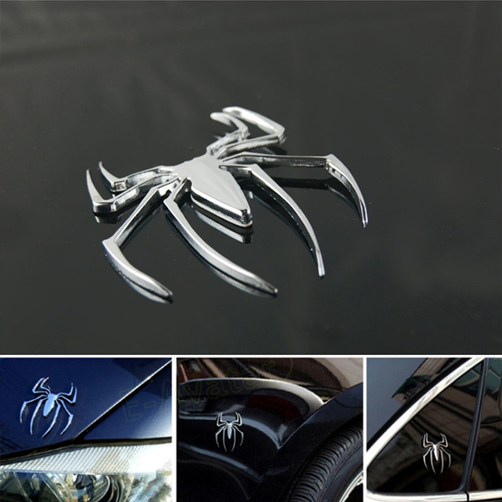 3D Car Styling Accessories Sticker Paster Chrome Spider Badge Emblem Logo Motorcycle Decal Decoratio
