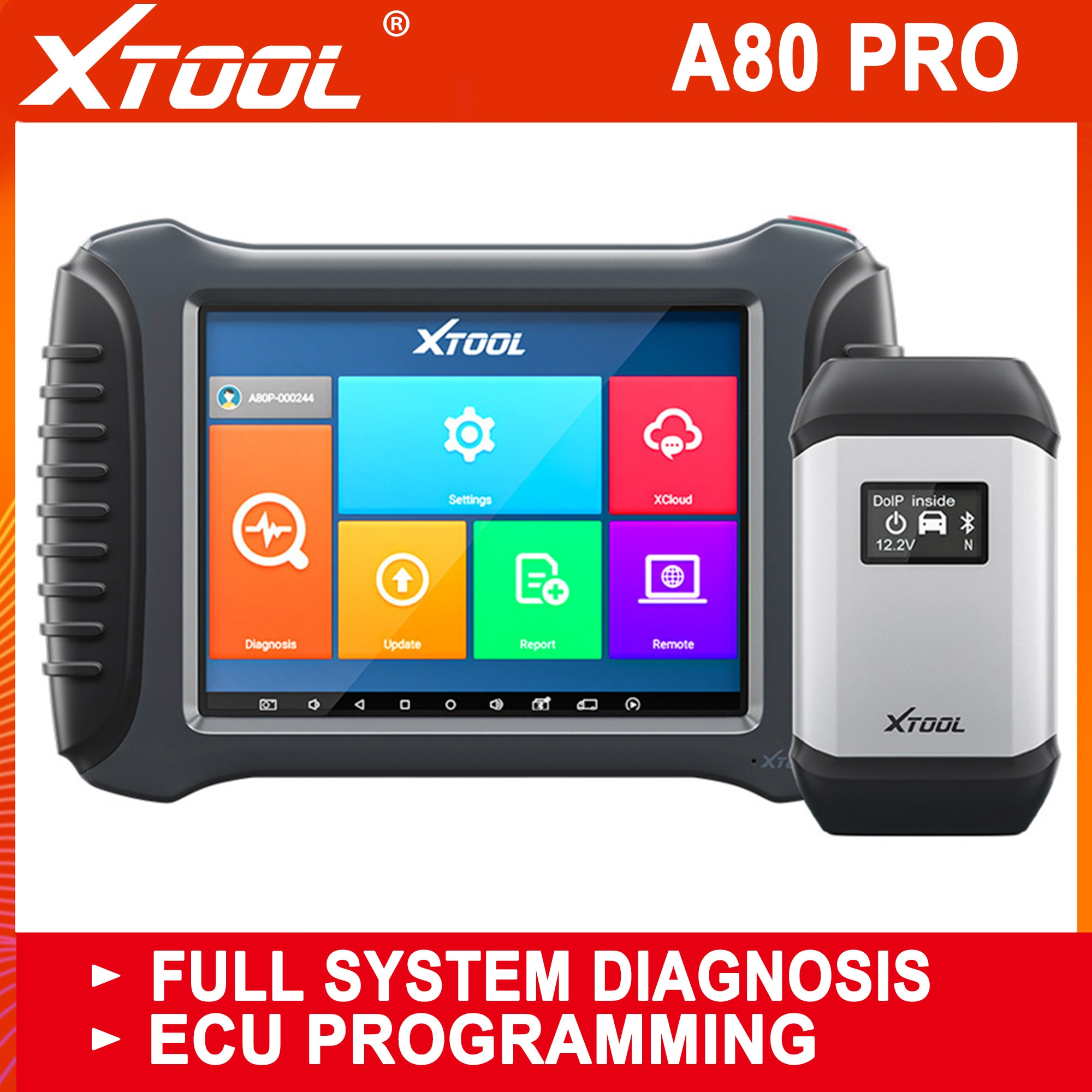 XTOOL Full System Diagnostic tool A80 With Bluetooth/WiFi Car OBD2 Car Repair Tool With ECU Coding/P
