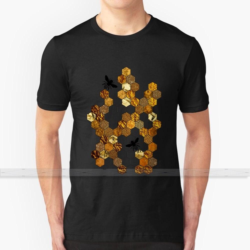 Favo De Mel de ouro Para Mulheres Dos Homens T Camisa Impressão Top T-shirt 100% Algodão Fresco T - Shirts S - 6XL Colcha de Favo de mel de Abelha de Mel Ouro