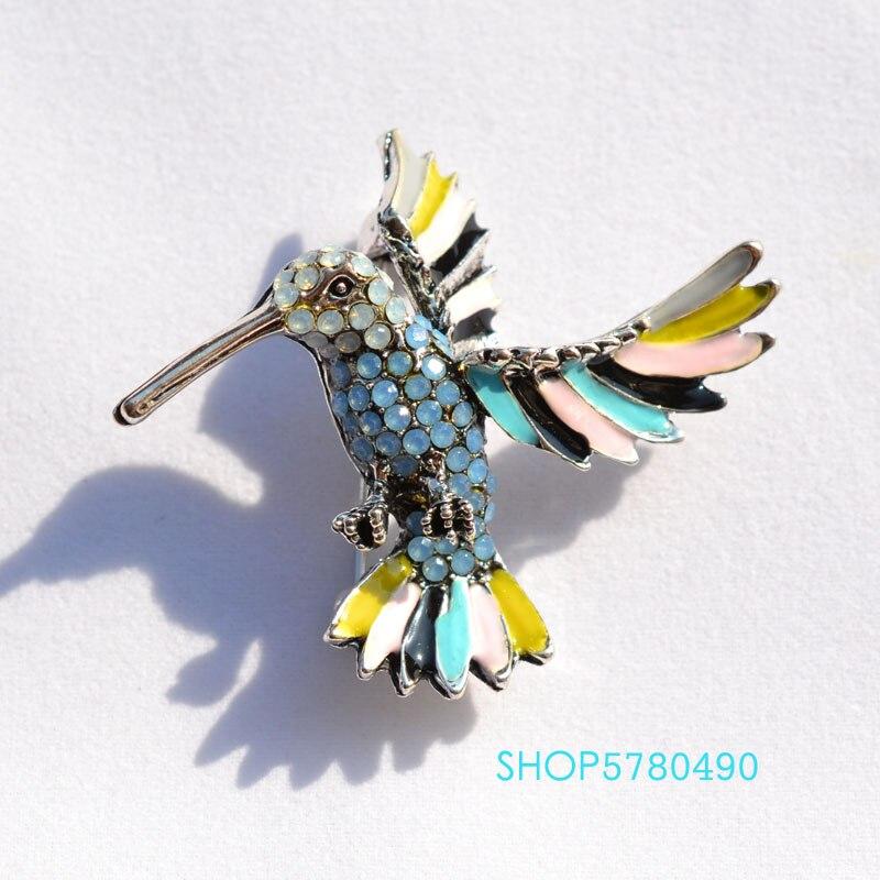 Joyería de moda, broche elegante de pájaros marinos con diamantes de imitación, broche clásico de múltiples colores para mujer, accesorios de abrigo diario para mujer, adornos de ramillete