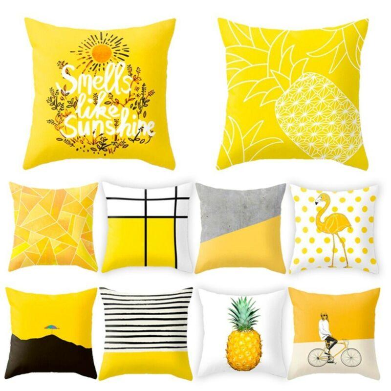 45x45cm amarillo a rayas funda geométrica cojín funda de cojín de impresión cojín funda de almohada dormitorio Oficina