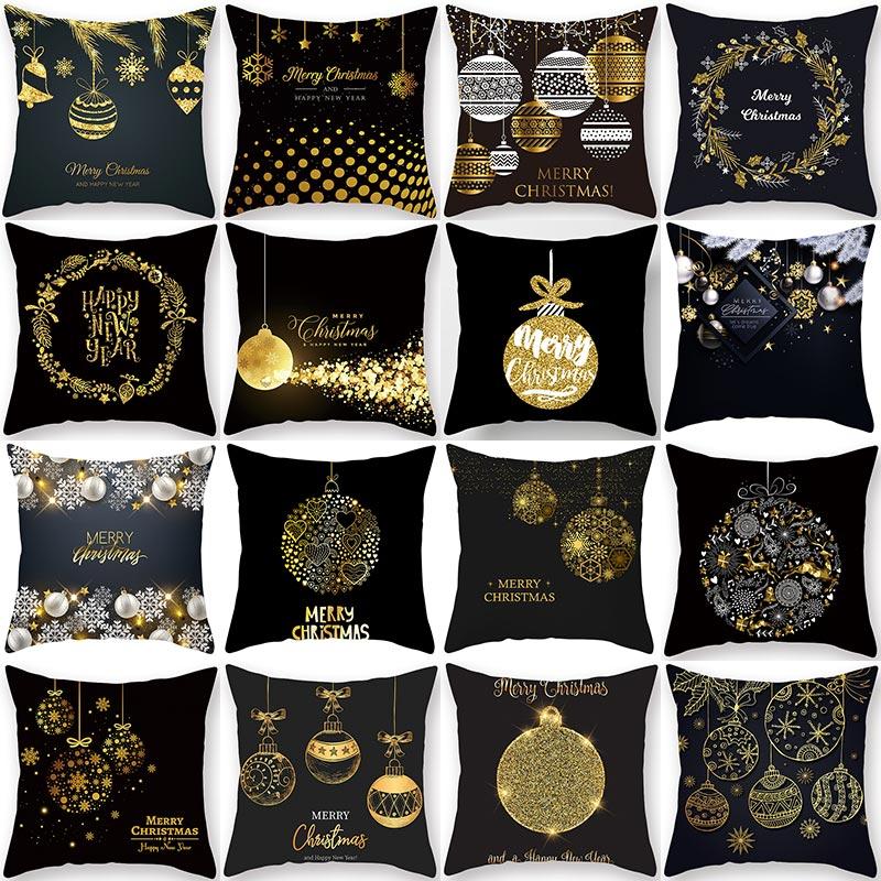 1 Uds. Dorado Negro patrón de campana de Navidad 45*45cm funda de cojín de poliéster sofá decorativo coches de Casa lanzar funda de almohada de decoración 40992