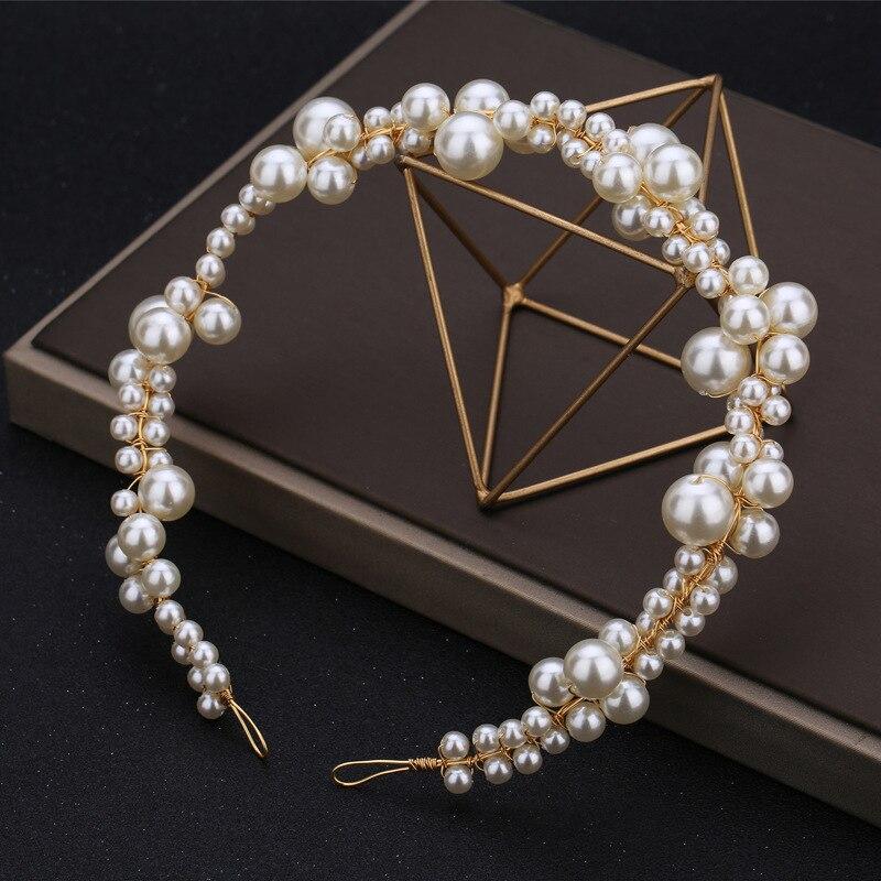 handmade wedding pearls headband simple bride headpiece for women bridal prom hair jewelry