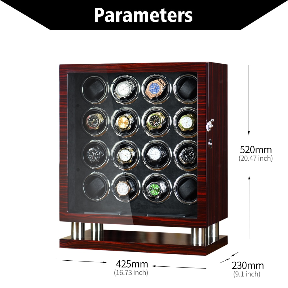 Lager watch winder with usb power Wood storage box 16 automatic watches winding case display cabinet Mechanical motor shaker enlarge