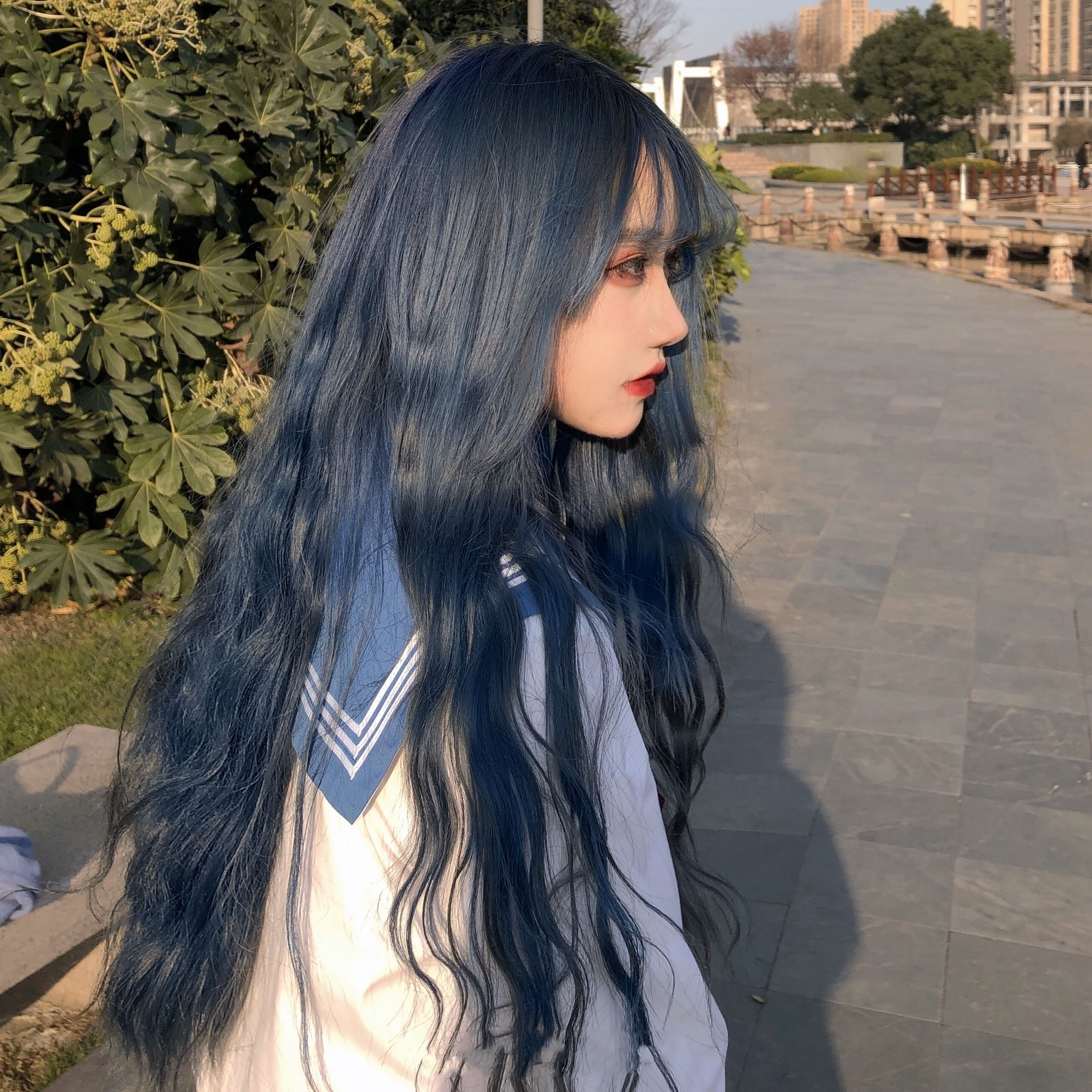 MANWEI Multicolor Long Water Wave With Bangs Wig For Women Pink/ Orange Heat Resistant Synthetic Cosplay Lolita Wigs