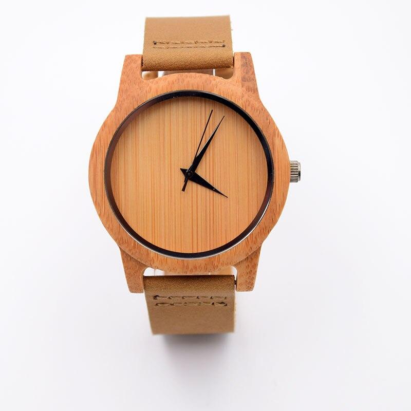 Nova dos Homens Relógios de Topo da Marca de Luxo Relógio de Pulso de Madeira de Bambu Pulseira de Couro Moda Feminino Genuíno Relógio Masculino