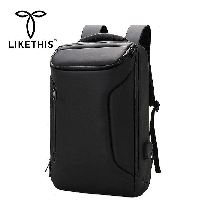Mochila LIKETHIS multifuncional 17 pulgadas funda para portátil impermeable puerto de carga USB bolsa de viaje mochila de negocios