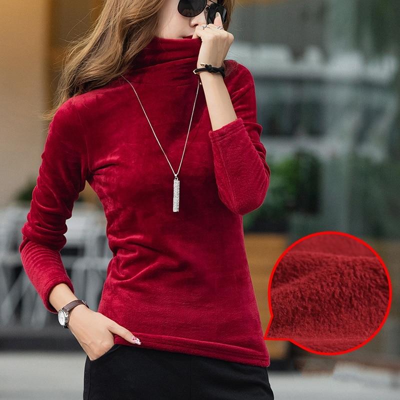 Camiseta de vellón de cuello alto de terciopelo para mujer Camisetas sólidas de manga larga elástica de talla grande S-4XL primavera otoño camiseta de fondo T90394