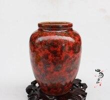 Jingdezhen-coffre déléphant glacé rouge   collection de porcelaine, coffre déléphant rouge trois séries pot de crête de melon, porcelaine antique de la république
