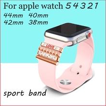 "Adorno de anillo decorativo para apple watch banda apple watch 4 3 5 banda 44mm 40mm 42mm 38mm iwatch Acero inoxidable ""amor"" Regalo"