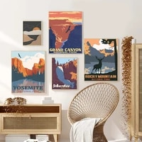 famous landscape art illustration poster and prints yellowstone national park canvas painting on the wall home decor living room