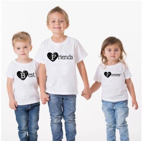Forever Friends, la mejor camiseta estampada para niños y niñas, camiseta de manga corta con cuello redondo, ropa informal de verano para niños, KT-2080