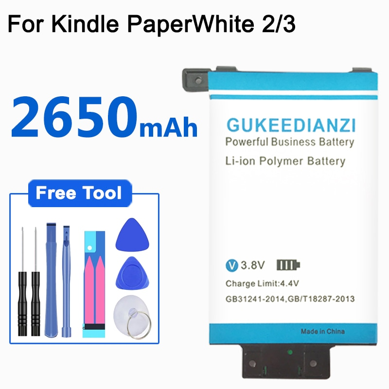 GUKEEDIANZI MC-354775-05 58-000049 2650mAh Batteria di Ricambio Per Amazon Kindle PaperWhite 2/3 KPW2 KPW3 Bateria