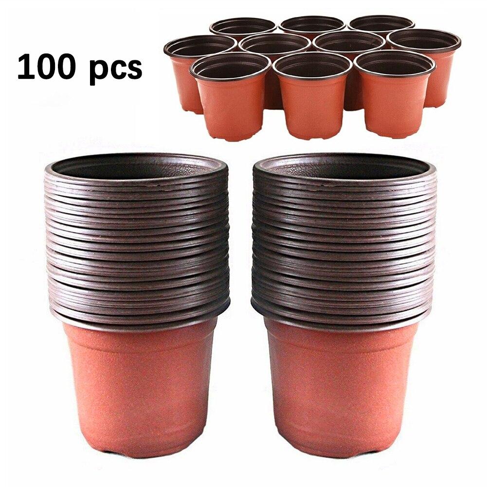 100 шт цветочные горшки пластиковые пусковые двухцветные универсальные мягкие цветы Детские семена контейнер для хранения садовое украшение