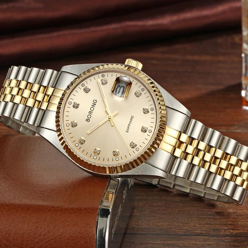 Мужские наручные часы, мужские наручные часы, лучший бренд, роскошные часы BORONG, мужские часы из нержавеющей стали, мужские часы erkek kol saati reloj ...