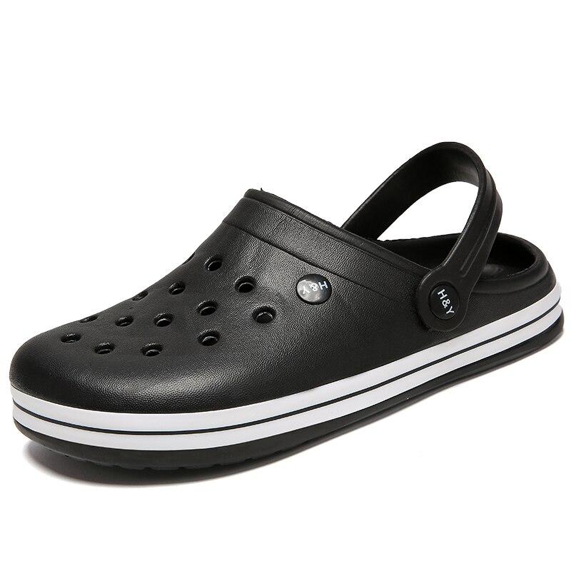 Sandales plates d'été pour garçons, sabots en caoutchouc EVA, chaussures de jardin noires, pantoufles de plage, 2020