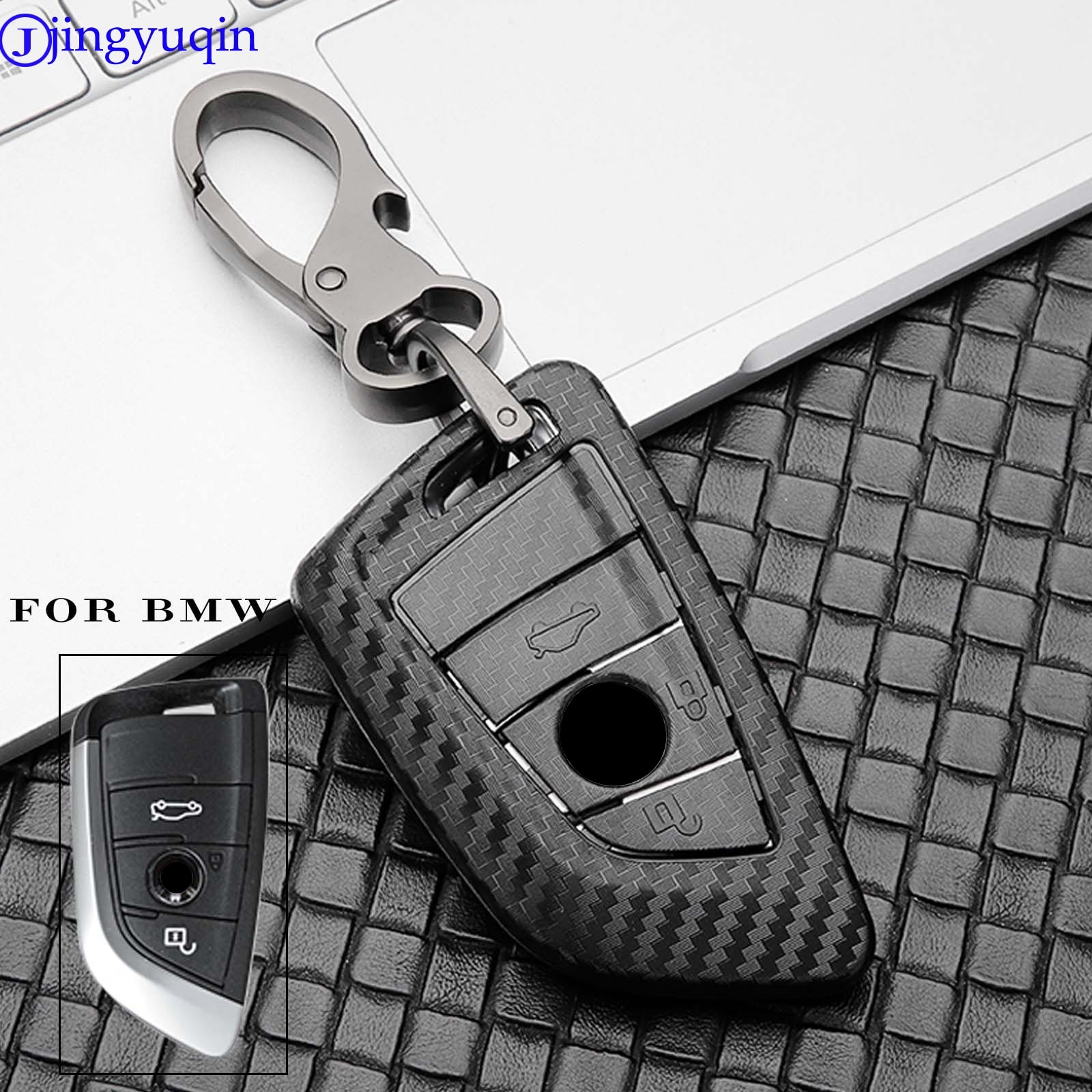jingyuqin ABS+Carbon for BMW CAS4 F 3 5 7  E90 E92 E93 X5 CAS1 2 3 4 5 6 7 X5 X6 + FEM Car Key Case Keychain Cover Procted